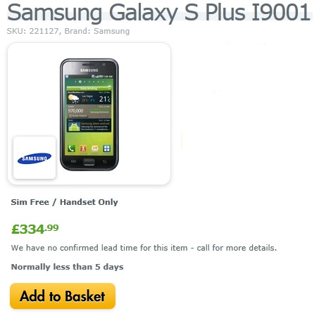 Unlocked version of the Samsung Galaxy S Plus can now be ordered in the UK