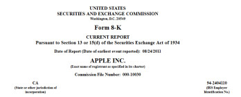 This SEC Form 8K, filed by Apple, details the 1 million share grant to new CEO Tim Cook