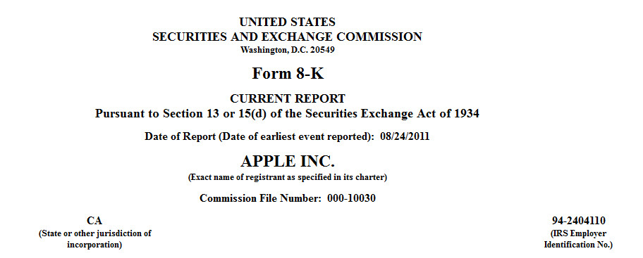 This SEC Form 8K, filed by Apple, details the 1 million share ...