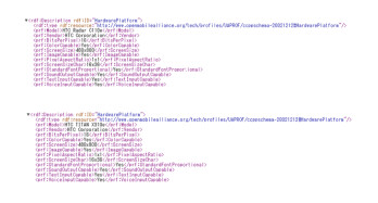 The User Agent Profiles for the HTC Radar (top) and the HTC Titan (bottom)