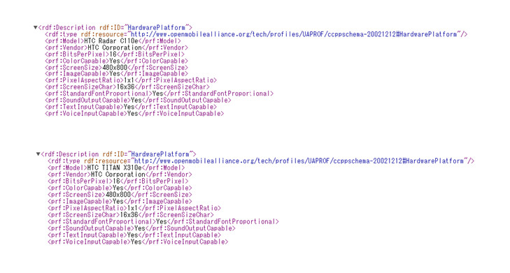 The User Agent Profiles for the HTC Radar (top) and the HTC Titan (bottom) - User Agent Profiles reveal new names for the HTC Omega and HTC Eternity