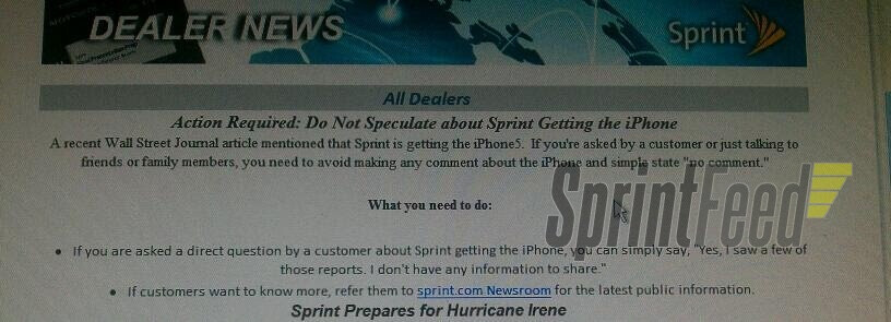Sprint asks dealers to secretively deny to comment on iPhone 5 rumor