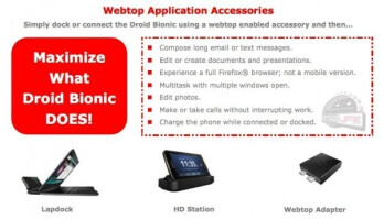 The Motorola DROID BIONIC will offer the Webtop adapter and other accessories