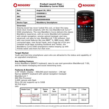 The Rogers Product Launch Flyer for the BlackBerry Curve 9360