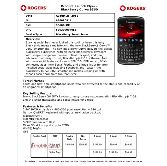 The Rogers Product Launch Flyer for the BlackBerry Curve 9360 - BlackBerry Curve 9360 pricing for Rogers confirmed