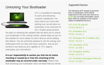 Go to HTCDev.com to unlock the bootloader on your HTC Sensation 4G