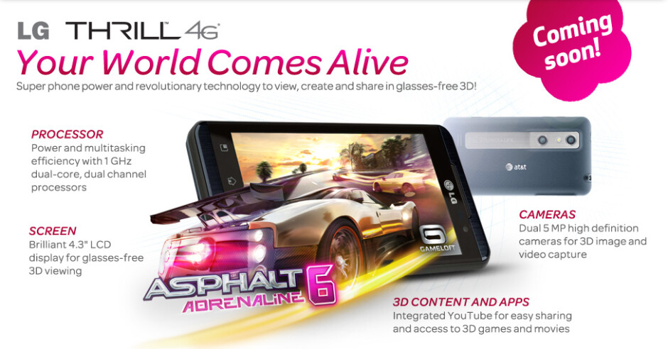 """The LG Thrill offers stereoscopic """"glasses-free"""" 3D - AT&T tweets to say that the LG Thrill 4G is coming September 4th"""