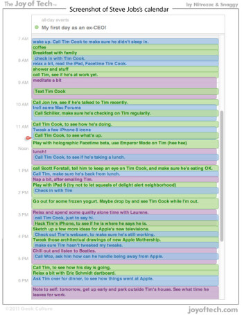 Steve Jobs' first day as ex-CEO documented in a calendar