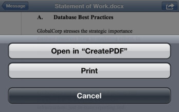 CreatePDF for iOS is Adobe's official app for converting PDF files