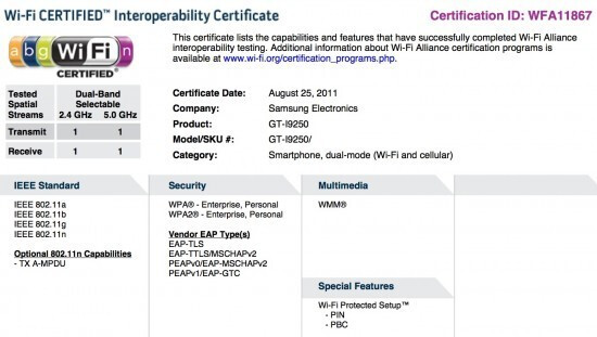 Support page for the GT-I9250 (L) and the Wi-Fi certification for the phone (R) - Support page for the Samsung GT-I9250 spotted, is it the Google Nexus Prime?