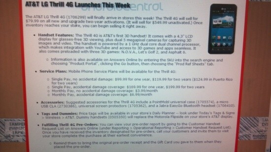 The Radio Shack memo that details the retailer's pricing of the LG Thrill 4G (L), YouTube 3D for the phone (R) - Radio Shack to give its customers a thrill; the LG Thrill 4G will be offered for $79.99 on contract