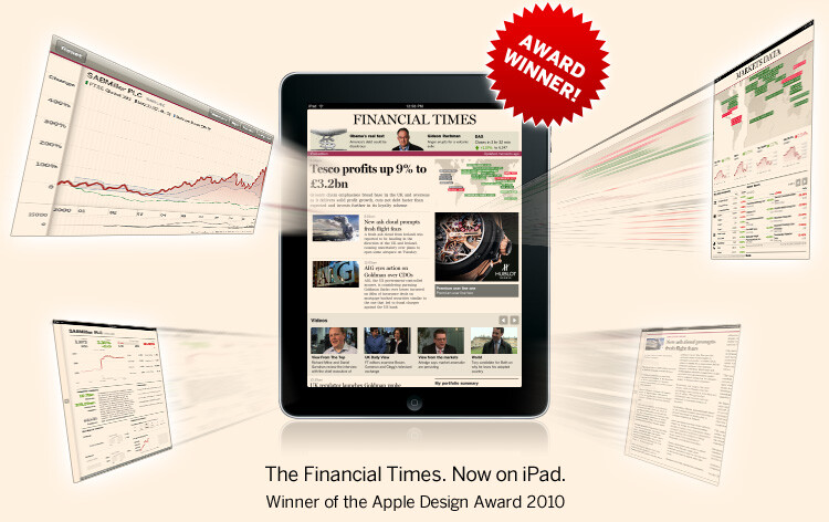 The Financial Times app for iPad won Apple's design award in 2010 - The Financial Times pulls its apps from the App Store after failing to negotiate ownership of user data