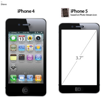 The icon from the Photo Stream beta (L) resembles this rendering of the Apple iPhone 5 (C); based on the icon, the Apple iPhone 5  would have a 3.7 inch screen (R)