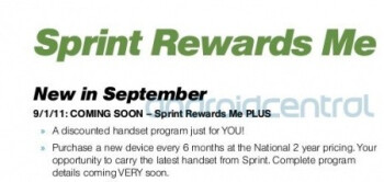 Various images from Sprint's new Playbook include the new Sprint Rewards Me PLUS plan (L),  a possible September launch of AT&T's HTC Holiday (C), and a new Kyocera model (R)