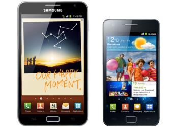 The Samsung Galaxy Note (left) vs Galaxy S II (right)