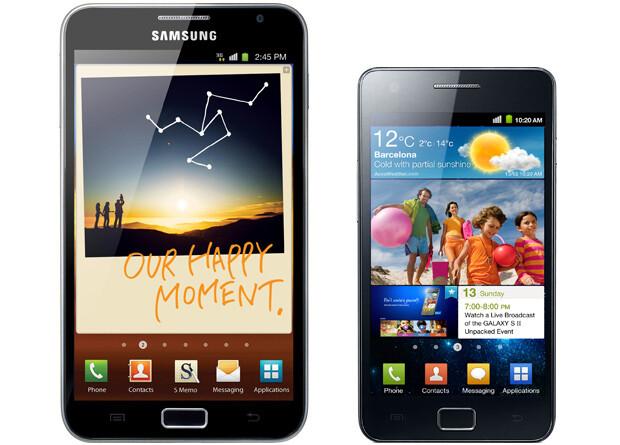 The Samsung Galaxy Note (left) vs Galaxy S II (right) - Samsung Galaxy Note versus Samsung Galaxy S II: spec comparison