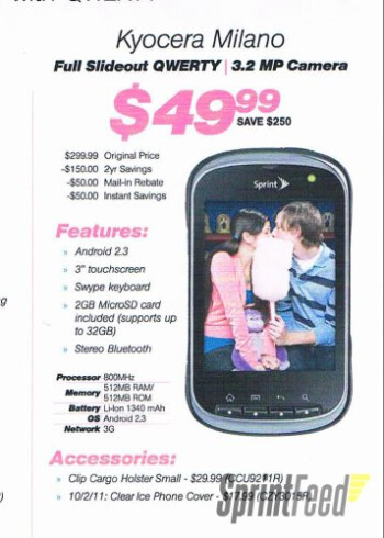 Kyocera Milano is a $50 mid-range Gingerbread handset going to Sprint on September 9?