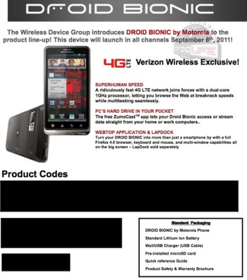 Additional leaks show that September 8th is the launch date for the Motorola DROID BIONIC
