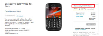 The BlackBerry Bold 9900 is already sold out at T-Mobile