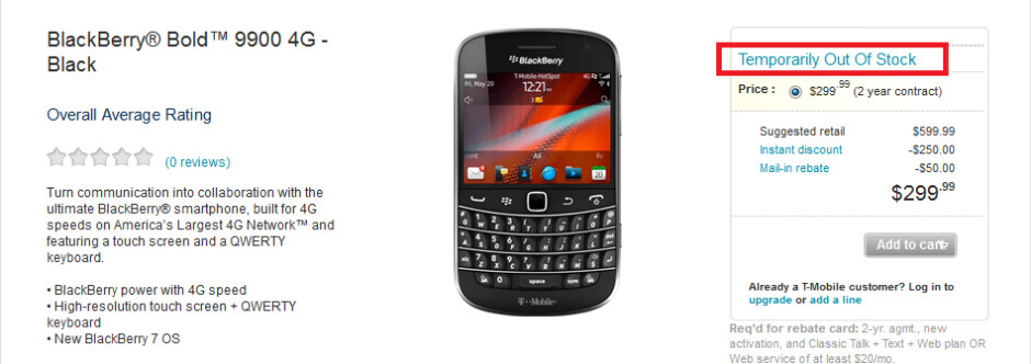 The BlackBerry Bold 9900 is already sold out at T-Mobile - BlackBerry Bold 9900 sold out at T-Mobile