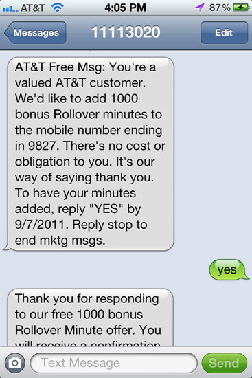 AT&T gives its customers 1,000 free Rollover minutes