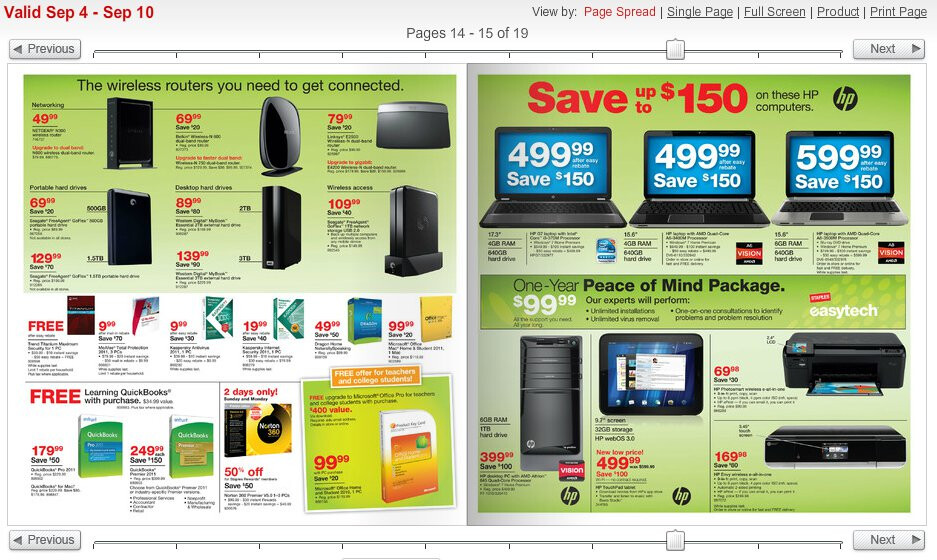 image from hp touchpad is featured in staples upcoming sales flyer