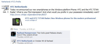 The Netherlands is anticipating an October 4th launch date for the HTC Titan
