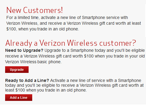How to get a gift card from Verizon (L) and some of the carrier's special Labor Day deals (R) - Verizon giving out gift card for qualifying smartphone purchase with trade-in