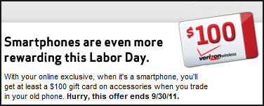 Verizon giving out gift card for qualifying smartphone purchase with trade-in
