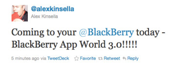 This tweet says to expect AppWorld 3.0 on your 'Berry today