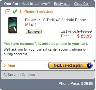 Amazon has the LG Thrill 4G listed for $29.99 on-contract for both new and upgrade customers