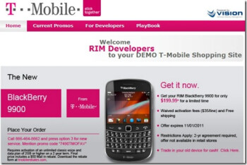 Developers are being offered discounts on the T-Mobile BlackBerry Bold 9900