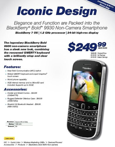 Cameraless version of the Sprint BlackBerry Bold 9930 is