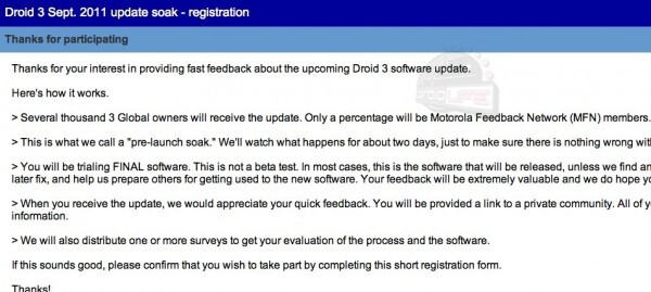 This e-mail to Motorola DROID 3 users informed them about the upcoming soak-test - Update coming soon for Motorola DROID 3