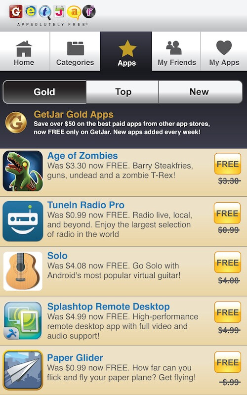 GetJar Gold challenges the Amazon Appstore, discounts a whole catalog of premium apps to free