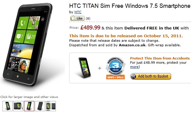 Amazon UK is accepting pre-orders for the HTC Titan and Radar; arriving on October 15th
