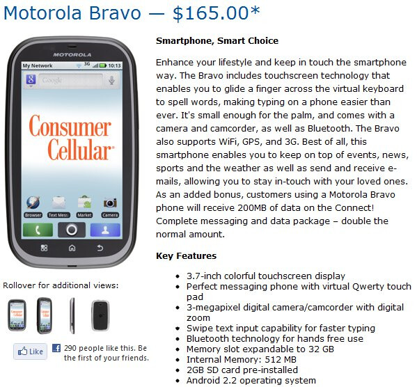 Consumer Cellular adds the Motorola Bravo to its no-contract lineup
