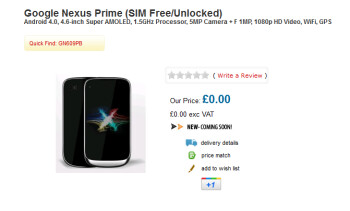 U.K. online retailer Handtec has put the Google Nexus Prime up on its site