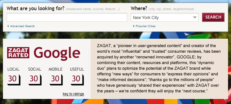 Zagat informed its faithful about the deal on its web site - Google acquires Zagat