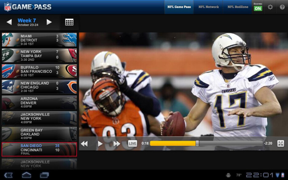 NFL refreshes official Game Pass app, adds Honeycomb