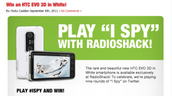 Win one of nine white HTC EVO 3D units being given away today by Radio Shack
