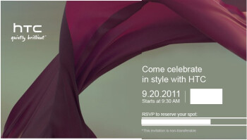 "HTC's upcoming event on September 20th says to ""come celebrate in style with HTC"""