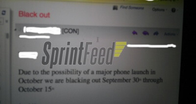 According to this memo, the Apple iPhone 5 will launch in early October - Sprint blocks out vacation days for a major phone announcement