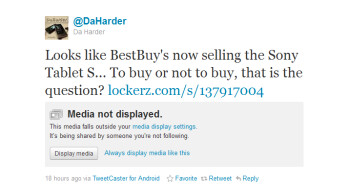 The tweet on the right revealed a picture (L) of the Sony Tablet S on display at Best Buy