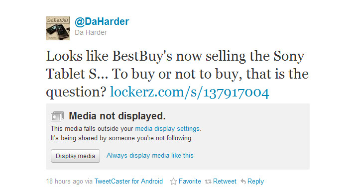 The tweet on the right revealed a picture (L) of the Sony Tablet S on display at Best Buy - Best Buy puts the Sony Tablet S on display for pre-order