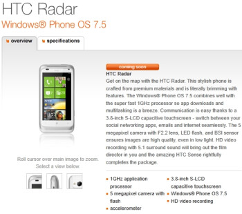Orange UK is set on selling its very first Windows Phone Mango handset - the HTC Radar