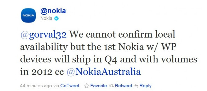 Nokia's tweet tells us that the Q4 goal for shipments of Nokia's first Windows Phone units is on track - Nokia tweets that it will ship its first Windows Phone model by the end of the year