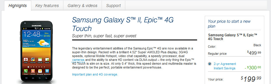 Sprint customers can go online now and pick up the Samsung Galaxy S II, Epic 4G Touch - Sprint customers can now order the Samsung Galaxy S II, Epic 4G Touch online