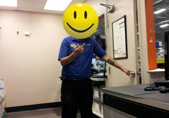 The vulgar image (happy face added to protect rep's identity) - Samsung Epic 4G Touch buyer gets surpise after purchasing unit at Best Buy