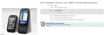 The winning bid for the Verizon branded HP Pre 3